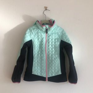 Lands End Quilt Hood Colorblock Thumb Hole Puffer